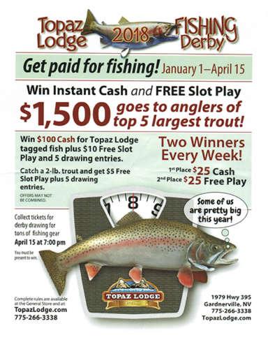 Topaz lodge fishing derby minden gardnerville genoa for Topaz lake fishing report